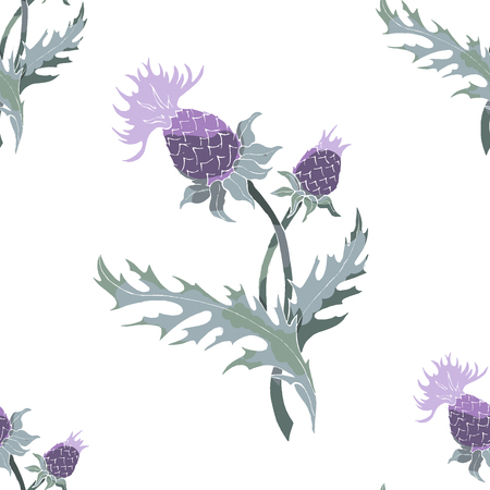 spiny thistle flower plant hand drawn. Seamless pattern