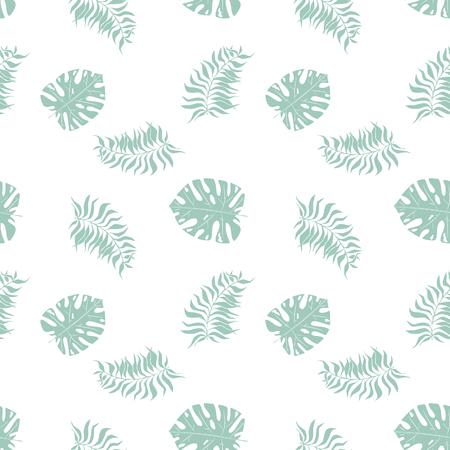 Monstera, palm tropical jungle leaves. Seamless pattern Ilustração