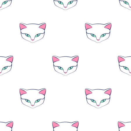 Cat kitty cute vector animal. Seamless pattern