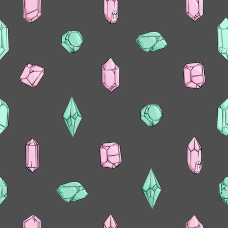 Crystals and Diamonds hand drawn seamless Pattern