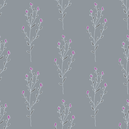 Herbs and flowers. Botanical sketch drawings seamless pattern
