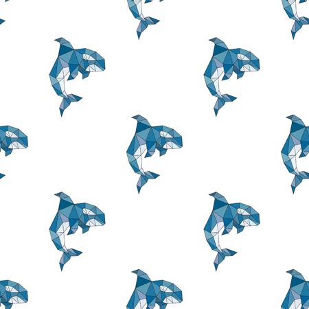 Whale orca pattern polygonal style seamless pattern Illustration
