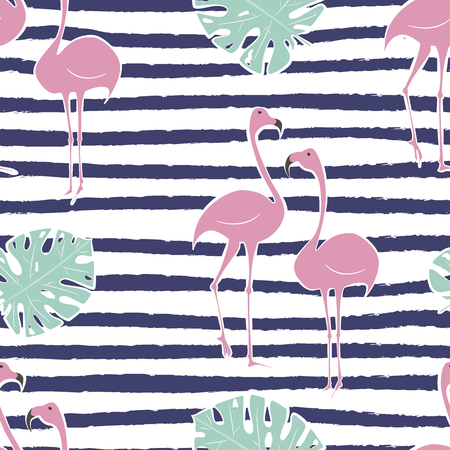 Flamingo pink pattern with monstera tropical leaf on strips