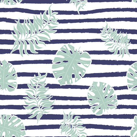 Seamless Pattern with monstera tropical leaf on strips