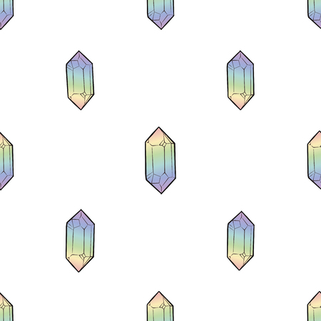 Crystals rainbow colorful and Diamonds seamless Pattern