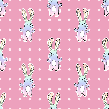 Rainbow pastel cartoon bunny rabit with dots. Hand drawn vector pattern Illustration