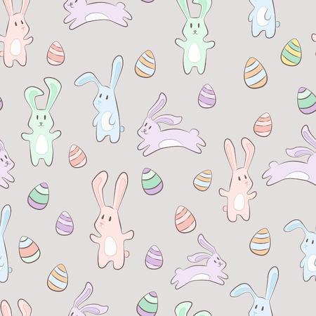 cute pastel cartoon bunny rabit with eggs. Hand drawn vector seamless pattern