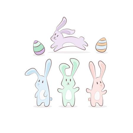cute pastel cartoon bunny rabit with eggs. Hand drawn vector set