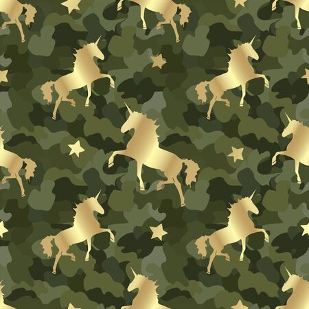 Gold silhouette Unicorn on camouflage. Seamless pattern