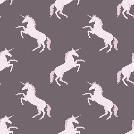 Magic pegasus, unicorn fairy-tale animal vector pattern