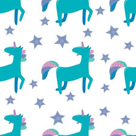 Unicorn in cute cartoon Skandinavian style pattern