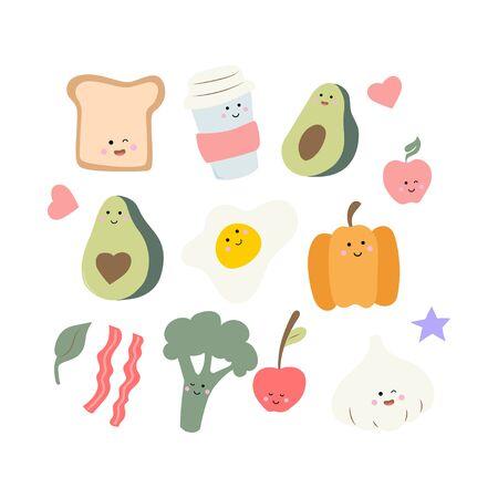 Cute food - toast, egg garlic and broccoli. Simple kawaii set of stickers