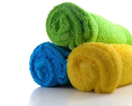 towel: tres toallas aisladas sobre fondo blanco