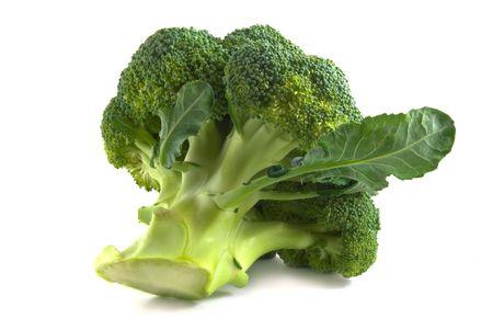 fresh green broccoli isolated on white background photo