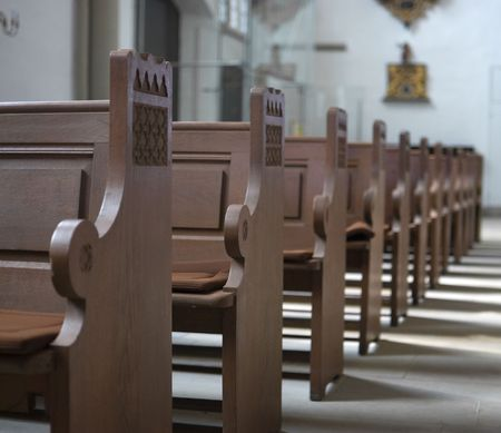 churches: Row of Church pews Stock Photo