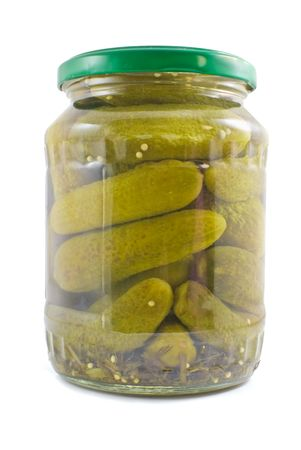 glass jar: Jar of pickles isolated on white background