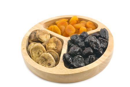 laxative: dried fruits dish on white background Stock Photo