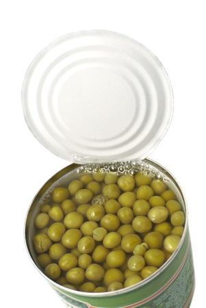 green peas in tin can photo