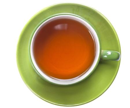 tazza di te: verde tazza di tè isolato su bianco
