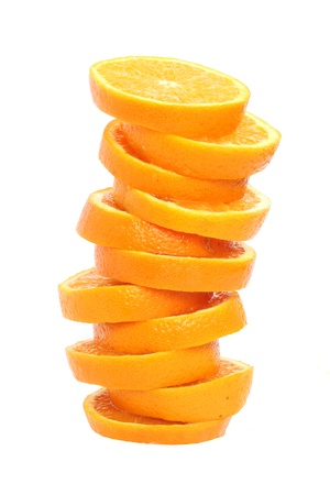 Stack of orange slices juice concept isolated on white photo