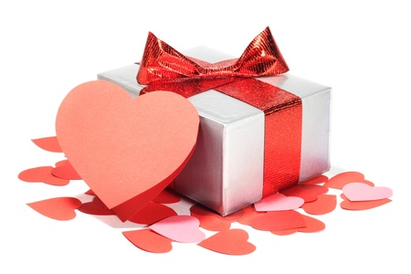 saint valentines: Valentines Day gift in silver box and greeting card isolated on white