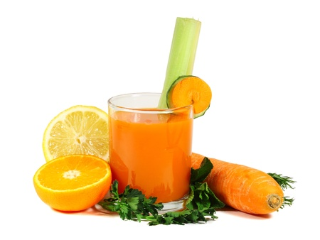 Carrot juice with fruits and vegetables isolated on white background photo