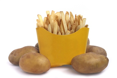 Natural french fries and potatoes concept  isolated on white photo