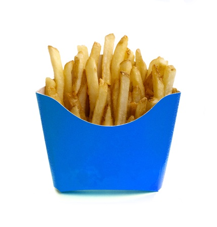 French fries in blue box isolated on white photo