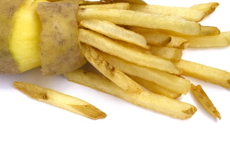 Peeled potato and french fries concept isolated on white photo
