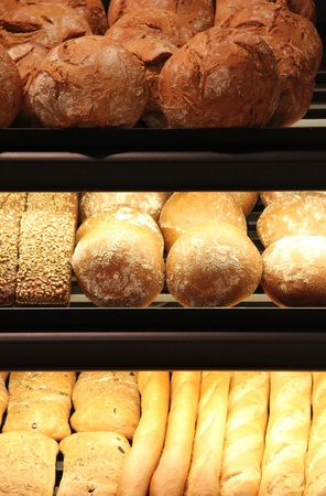 different appetizing bread on showcase in supermarket Stock Photo - 12757581