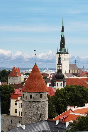 View on St. Olafs Church and towers in Tallinn