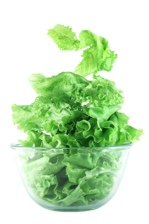 Light lettuce salad in transparent bowl isolated on white lightness concept