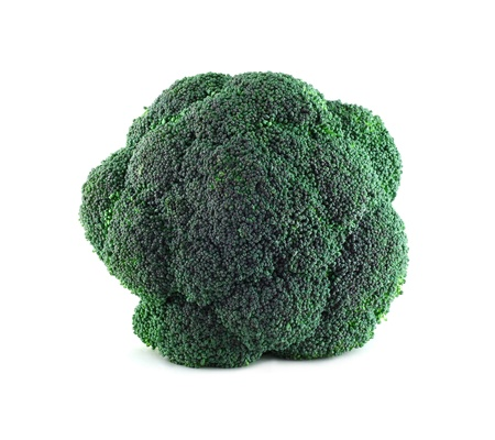 Fresh broccoli isolated on white background top view photo