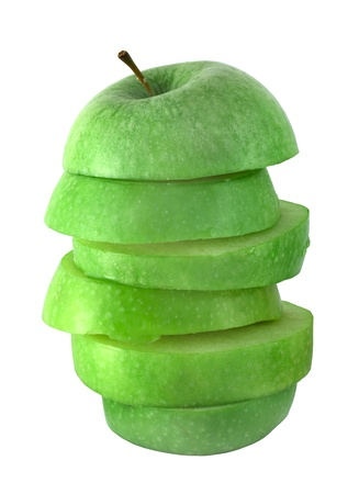 Stack of apple slices juice concept isolated on white Stock Photo - 12908647