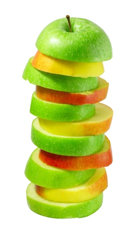 Stack of green and red apple slices juice concept isolated on white