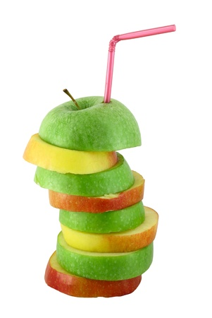 Stack of green and red apple slices with straw juice concept isolated on white photo