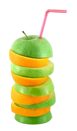 Stack of orange and apple slices with straw juice concept isolated on white photo