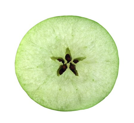 Slice cross section of green apple isolated on white background photo