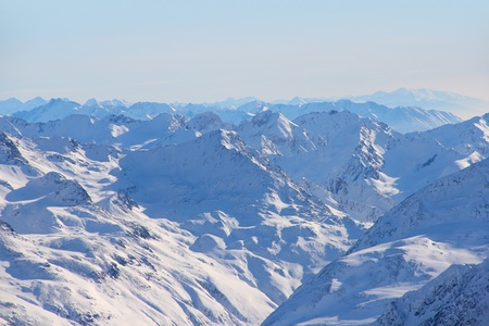 High mountains under blue sky beautiful winter panorama Stock Photo - 13489310