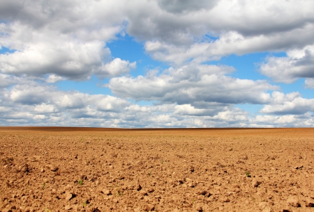 Empty land under blue cloudy sky beautiful landscape