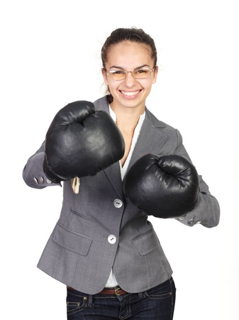 Boxing businesswoman concept isolated on white background photo