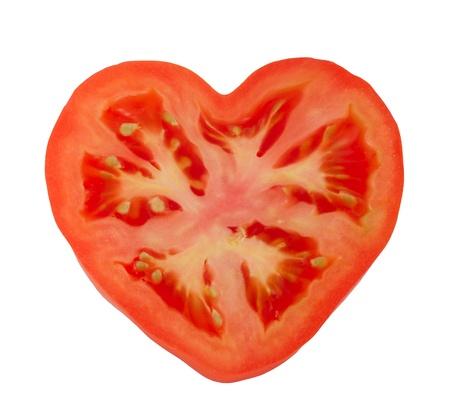 白い背景に分離された 1 つのトマト 写真素材