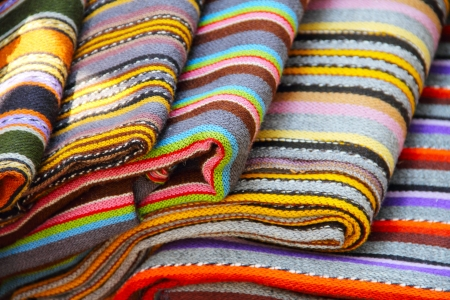 Traditional estonian colorful textile on showcase Stock Photo