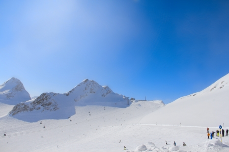 Ski resort with beautiful winter mountein panorama in Solen Stock Photo