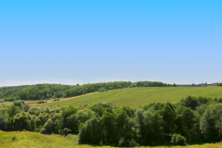 Beautiful summer landscape with meadows and trees photo