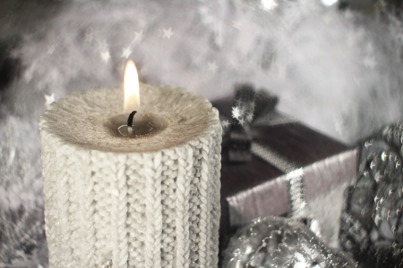 Christmas candle with gift and different silver decoration Stock Photo - 16505675