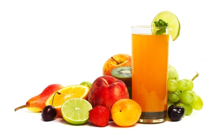 Multifruit juice with differnt fruits isolated on white background Stock Photo