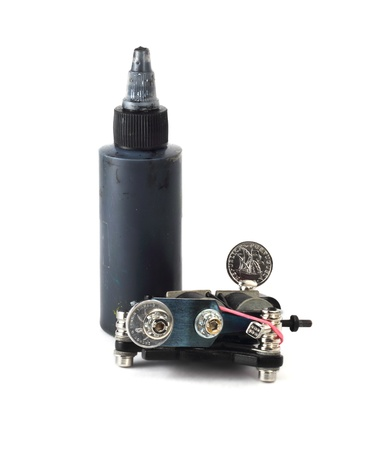 Tattoo Supplies - machine and black ink in bottle Stock Photo - 16928618