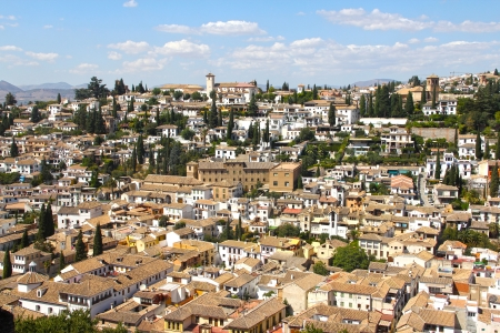 View on Alhambra, Granada and beautiful spanish landscape photo