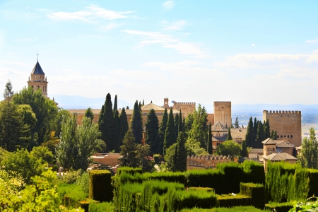 Panoramic view on ancient city of Alhambra